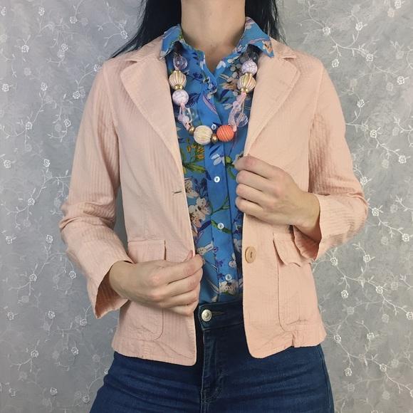 Nili Lotan Jackets Coats Dusty Pink Seersucker Blazer Poshmark
